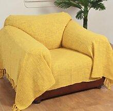 Homescapes Handgewobene Tagesdecke Nirvana mit Knoten-Optik 150 x 200 cm Plaid aus 100% reiner Baumwolle Bettüberwurf Sofaüberwurf mit Fransen, gelb