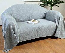 Homescapes Handgewobene Tagesdecke Nirvana mit Knoten-Optik 225 x 255 cm Plaid aus 100% reiner Baumwolle Bettüberwurf Sofaüberwurf mit Fransen, grau