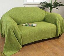 Homescapes Handgewobene Tagesdecke Nirvana mit Knoten-Optik 225 x 255 cm Plaid aus 100% reiner Baumwolle Bettüberwurf Sofaüberwurf mit Fransen, apfel grün