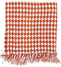 Homescapes Handgewobene Tagesdecke orange weiß