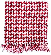 Homescapes Handgewobene Tagesdecke rot weiß