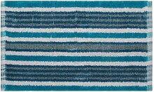 Homescapes Handgewobener Badvorleger blau schwarz weiss 40 x 60 cm Duschvorleger 100% Baumwolle Badteppich gestreif