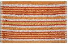Homescapes Handgewobener Badvorleger orange weiss 40 x 60 cm Duschvorleger 100% Baumwolle Badteppich gestreif