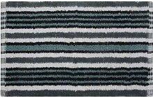 Homescapes Handgewobener Badvorleger schwarz grau weiss 40 x 60 cm Duschvorleger 100% Baumwolle Badteppich gestreif