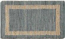 Homescapes handgewobener Chindi Teppichläufer in Grau mit goldenem / braunem Streifen, Hanf, Veranda, 66 x 200cm