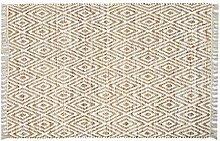 Homescapes handgewobener Chindi Teppichläufer mit geometrischen Muster, Diamant, Hanf, Beige - Weiß, Sierra, 66 x 200cm