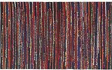 Homescapes handgewobener Chindi Teppichläufer Vorleger in buntem Flickendesign, Fleece, Folk, 66 x 200cm