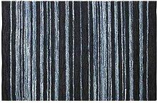 Homescapes handgewobener Teppich in Blau, Streifen Flicken, Jeans / Jeans und Leder, Texas, 90 x 150cm