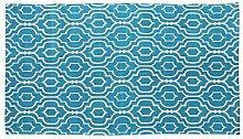 Homescapes handgewobener Teppich, Petrol & Weiß,