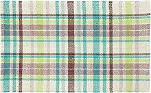 Homescapes handgewobener Teppichläufer mit mehrfarbigem Karomuster, 100% reine Baumwolle, Wilson, 66 x 200cm