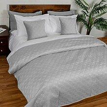 Homescapes hellgraue, samtweiche Tagesdecke mit geometrischem Kreismuster - Ewigkeitsringe, Baumwolle & Polyester, 200 cm x 200 cm