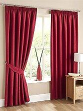 Homescapes Kräuselband Gardinen Blickdicht Rot