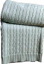 Homescapes kuschelweiche Heimdecke blaugrün mit Zopfmuster 170 x 130 cm 100% reine Baumwolle Sofaüberwurf Wohndecke