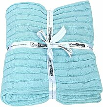 Homescapes kuschelweiche Heimdecke hellblau mit Zopfmuster 150 x 200 cm 100% reine Baumwolle Sofaüberwurf Wohndecke