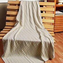Homescapes kuschelweiche Heimdecke natur mit Zopfmuster 150 x 200 cm 100% reine Baumwolle Sofaüberwurf Wohndecke