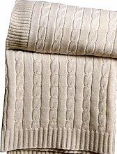 Homescapes kuschelweiche Heimdecke natur mit Zopfmuster 170 x 130 cm 100% reine Baumwolle Sofaüberwurf Wohndecke