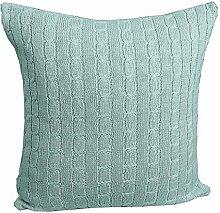 Homescapes kuschelweiche Kissenhülle blaugrün mit Zopfmuster 45 x 45 cm 100% reine Baumwolle Kissenbezug mit Reißverschluss