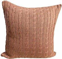 Homescapes kuschelweiche Kissenhülle braun mit Zopfmuster 45 x 45 cm 100% reine Baumwolle Kissenbezug mit Reißverschluss
