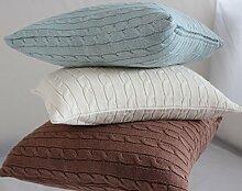 Homescapes kuschelweiche Kissenhülle marineblau mit Zopfmuster 45 x 45 cm 100% reine Baumwolle Kissenbezug mit Reißverschluss