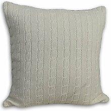 Homescapes kuschelweiche Kissenhülle natur mit Zopfmuster 45 x 45 cm 100% reine Baumwolle Kissenbezug mit Reißverschluss