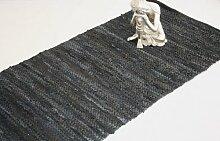 Homescapes Leder Teppich Läufer Denver schwarz 200 x 66 cm aus 100% recyceltem Leder