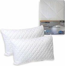 Homescapes Matratzen- und KIssenschoner, gesteppt, 100% Baumwolle, weiß, Pillow Protector Pair