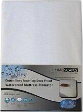 Homescapes Matratzenschoner Impermeable, 2 Personen, 190 x 140cm reine Baumwolle, sehr weich Farbe: Weiß
