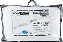 Homescapes medium - weiche Kopfkissen, befüllt mit luxuriöser Maulbeerseide, 2 Stück, Maße 48 cm x 74 cm