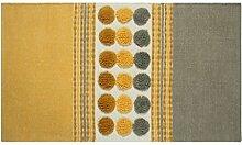 Homescapes moderner Chenille Teppich grau senfgelb 60 x 100 cm Circles & Stripes Vorleger