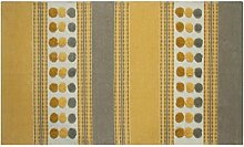 Homescapes moderner Chenille Teppich grau senfgelb 90 x 150 cm Circles & Stripes Vorleger