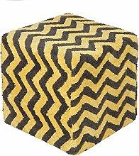 Homescapes Moderner Design Sitzwürfel Fußhocker grau gelb Chevron Herringbone Muster getufte