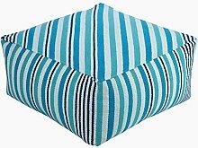 Homescapes Moderner Sitzwürfel Pouf Sitzkissen Selam aqua weiß gestreift skandinavisches Design 60 x 60 cm