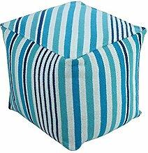 Homescapes Moderner Sitzwürfel Pouf Sitzkissen Selam aqua weiß gestreift skandinavisches Design 40 x 40 cm