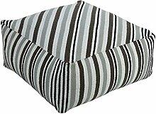 Homescapes Moderner Sitzwürfel Pouf Sitzkissen Selam grau weiß gestreift skandinavisches Design 60 x 60 cm