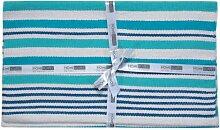 Homescapes Moderner Streifen Teppich Läufer Selam aqua 66 x 200 cm 100% reine Baumwolle