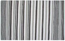 Homescapes Moderner Streifen Teppich Läufer Selam grau 66 x 200 cm 100% reine Baumwolle