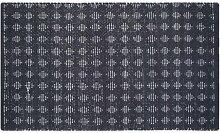 Homescapes Moderner Teppich Läufer schwarz weiß Rautenmuster 66 x 200 cm Chindi Flickenteppich Fleckerlteppich