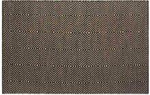 Homescapes Naturfaser Teppich Läufer 66 x 200 cm 100% Jute Küchen-Läufer schwarz beige geometrisches Muster Raute