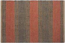 Homescapes Naturfaser Teppich Vorleger 90 x 150 cm 100% Jute Teppich blau beige geometrisches Muster Raute gestreif