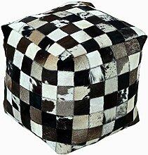 Homescapes Patchwork Designer Sitzwürfel Fußhocker Pouf braun Lederhocker Bezug mit echten Ziegenfell Flicken