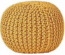 Homescapes Pouf Strickpouf rundes Bodenkissen,