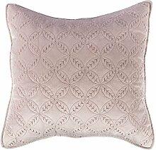 Homescapes samtweiche, altrosa Kissenhülle mit geometrischem Ringmuster - Ewigkeitsringe, Baumwolle & Polyester, 45 cm x 45 cm