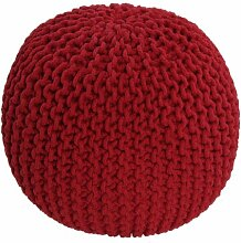 Homescapes Sitzhocker rund rot 40 x 35 cm, Sitzkissen Strick Pouf Bodenkissen, grob gestrickter Bezug aus 100% Baumwolle, Füllung aus 100% Polystyrol