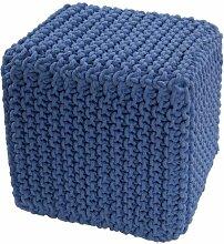 Homescapes Sitzhocker Sitzwürfel blau 35 x 35 x 35 cm, Sitzkissen Strick Pouf, grob gestrickter Bezug aus 100% Baumwolle, Füllung aus 100% Polystyrol