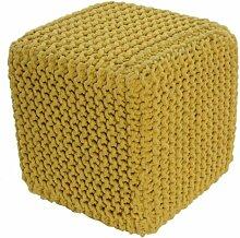 Homescapes Sitzhocker Sitzwürfel gelb 35 x 35 x 35 cm, Sitzkissen Strick Pouf Fußhocker, grob gestrickter Bezug aus 100% Baumwolle, Füllung aus 100% Polystyrol