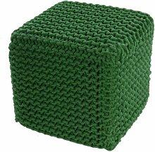 Homescapes Sitzhocker Sitzwürfel grün 35 x 35 x 35 cm, Sitzkissen Strick Pouf Fußhocker, grob gestrickter Bezug aus 100% Baumwolle, Füllung aus 100% Polystyrol
