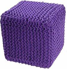 Homescapes Sitzhocker Sitzwürfel malve 35 x 35 x 35 cm, Sitzkissen Strick Pouf Fußhocker, grob gestrickter Bezug aus 100% Baumwolle, Füllung aus 100% Polystyrol