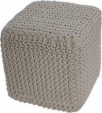 Homescapes Sitzhocker Sitzwürfel natur weiß 35 x 35 x 35 cm, Sitzkissen Strick Pouf Fußhocker, grob gestrickter Bezug aus 100% Baumwolle, Füllung aus 100% Polystyrol