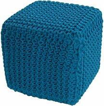 Homescapes Sitzhocker Sitzwürfel petrol 35 x 35 x 35 cm, Sitzkissen Strick Pouf Fußhocker, grob gestrickter Bezug aus 100% Baumwolle, Füllung aus 100% Polystyrol