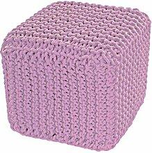 Homescapes Sitzhocker Sitzwürfel rosa 35 x 35 x 35 cm, Sitzkissen Strick Pouf, grob gestrickter Bezug 100% Baumwolle, Füllung 100% Polystyrol